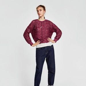 NWT Zara AW17 Plum Size L Sweatshirt
